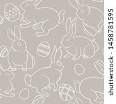 bunnies white outlines on grey... | Shutterstock .eps vector #1458781595