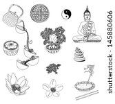 illustration set of yoga and... | Shutterstock . vector #145880606