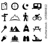 camping and recreation icon set