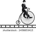 Chaplin Is Riding On An Old Bike