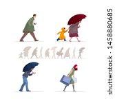 people walking in the rain.... | Shutterstock .eps vector #1458880685