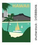 Honolulu city, Diamond Head and Waikiki Beach. Hawaii  USA - stock vector