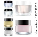 glass cosmetic jar mock up....   Shutterstock .eps vector #1458912092