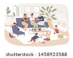 group of female friends sit on... | Shutterstock .eps vector #1458923588