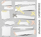 torn paper with adhesive tape ... | Shutterstock .eps vector #1458930302