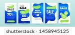 set of dynamic modern fluid... | Shutterstock .eps vector #1458945125