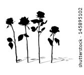 Roses silhouettes collection with shadows isolated on white