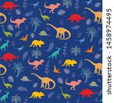 pattern with different kinds of ... | Shutterstock . vector #1458974495
