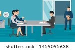 New employee & boss meeting. Executive manager sitting at desk. Job interview CEO or HR officer and candidate. Flat style modern vector isolated illustration.