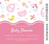Stock vector baby shower invitation banner template pink card with newborn baby symbols seamless pattern and 1459108328