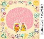 owls cute cartoon card and... | Shutterstock .eps vector #145921322