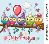 cute cartoon five owls on a... | Shutterstock .eps vector #1459220945