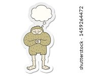 Stock photo cartoon bigfoot with thought bubble as a printed sticker 1459264472