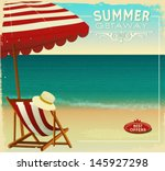 tropical beach summer poster ... | Shutterstock .eps vector #145927298