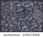 set of fast food doodles on... | Shutterstock .eps vector #1459275458