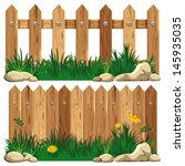 Wooden Fence And Grass. Vector...