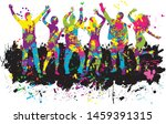 dancing people silhouettes.... | Shutterstock .eps vector #1459391315