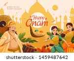 happy onam celebration with... | Shutterstock .eps vector #1459487642