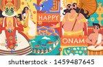 happy onam flat design with... | Shutterstock .eps vector #1459487645