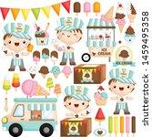 a vector set of cute boy ice... | Shutterstock .eps vector #1459495358
