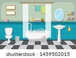 classic bathroom interior clean ...   Shutterstock .eps vector #1459502015