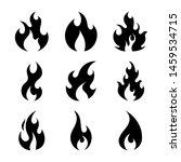 simple black fire flames set... | Shutterstock .eps vector #1459534715
