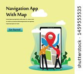 navigation app with map vector...
