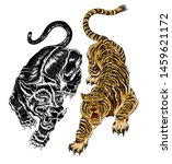 isolated asian style tiger and...   Shutterstock . vector #1459621172