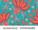 art floral vector seamless... | Shutterstock .eps vector #1459660688
