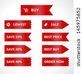 ribbon sale color red   vector... | Shutterstock .eps vector #145975652