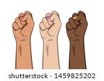 raised female fist hand. girl... | Shutterstock .eps vector #1459825202