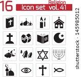 vector black religion icons set   Shutterstock .eps vector #145985012