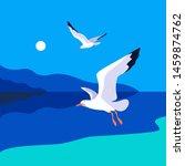 Sea Landscape With Gulls. Sea...