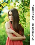 beautiful young girl in red... | Shutterstock . vector #145988852