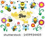 set of bees with flowers ... | Shutterstock .eps vector #1459934405