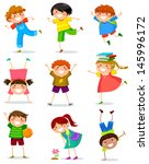 collection of happy children in ... | Shutterstock .eps vector #145996172