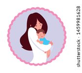 mom carrying his baby in his... | Shutterstock .eps vector #1459981628