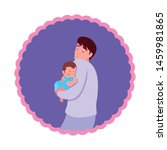 dad carrying his baby in his... | Shutterstock .eps vector #1459981865