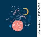 magic cute unicorn walking on... | Shutterstock .eps vector #1459986338