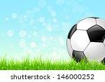 soccer ball on green grass and...   Shutterstock .eps vector #146000252