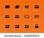 credit card icons on orange...