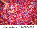 Stock photo edible aromatic mix of sea salt fine fruity rose petals mild peppery pink berries corn flower 1460064638