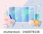 travel various items in paper...   Shutterstock .eps vector #1460078138