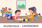 smiling kindergarten girl   boy ... | Shutterstock .eps vector #1460083865