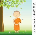 monk buddhism stand up vector ... | Shutterstock .eps vector #1460095298