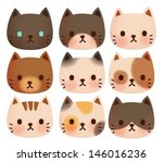 collection of cute cat   vector ... | Shutterstock .eps vector #146016236