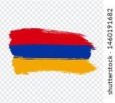 flag of  armenia from brush...