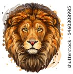 lion. artistic  color ... | Shutterstock .eps vector #1460308985