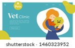 Stock vector design for vet clinic pet care medicine veterinary hospital vector illustration with cute girl 1460323952
