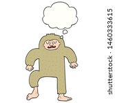 Stock photo cartoon bigfoot with thought bubble 1460333615